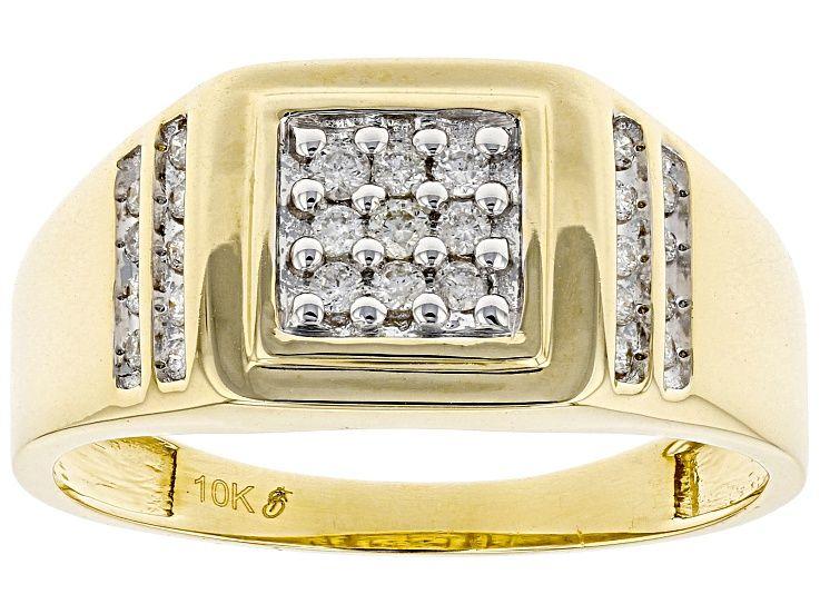 White Diamond 10k Yellow Gold Mens Ring 25ctw Gvi183 In 2020 Yellow Gold Mens Rings Rings For Men Gents Gold Ring