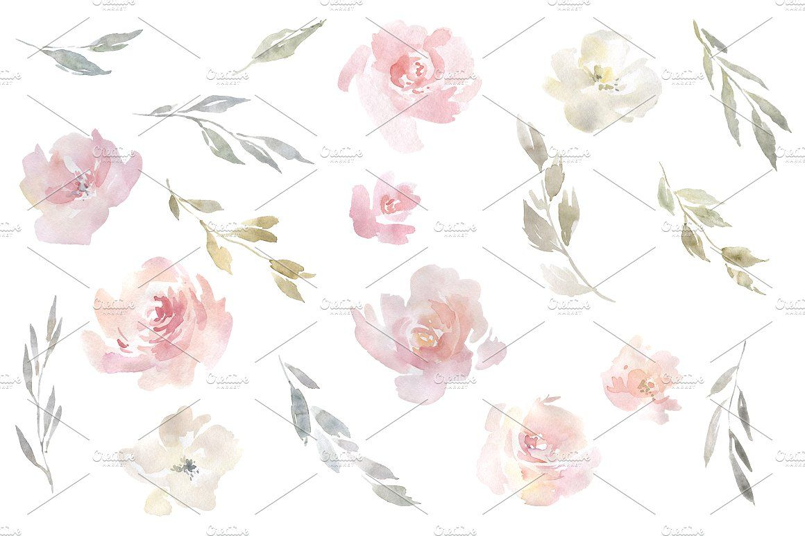 Blush Pink Roses Watercolor Clipart Dusty Pink Flowers Etsy Watercolor Rose Blush Pink Rose Clip Art