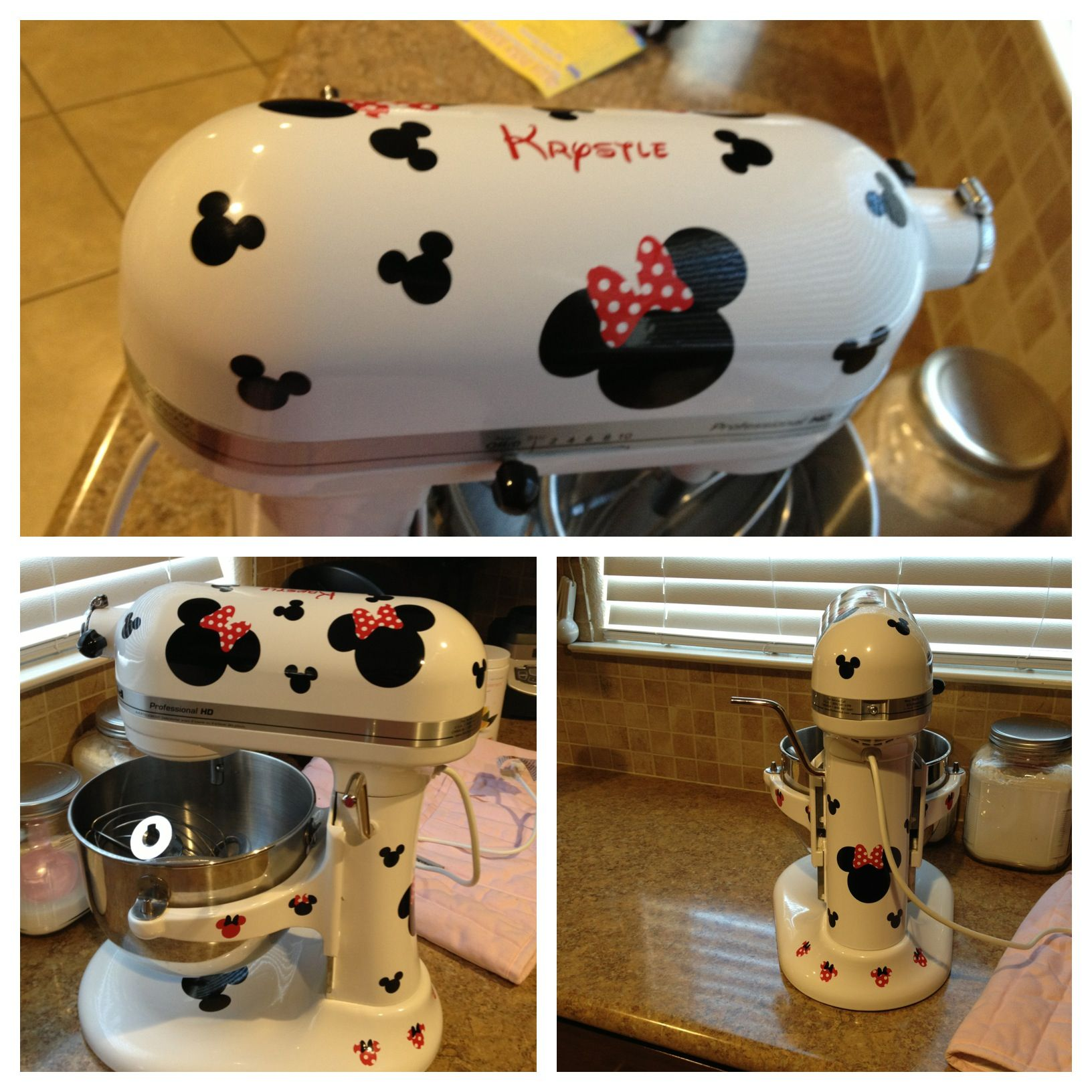 Disney Kitchen Items: Custom Minnie And Mickey Mouse Kitchenaid Mixer!