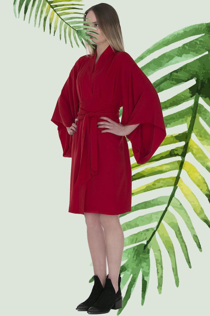 Kimono KARMAZYNOWE