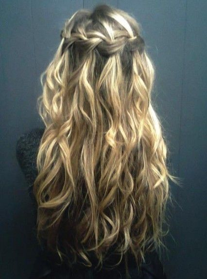 Waterfall Braid For Curly Hair Long Curly Hairstyle With Braid by lea