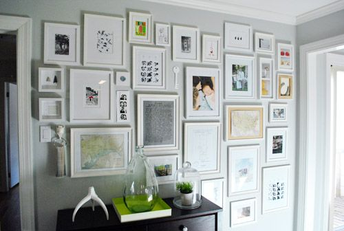 Photo frame collage wall - Young House Love