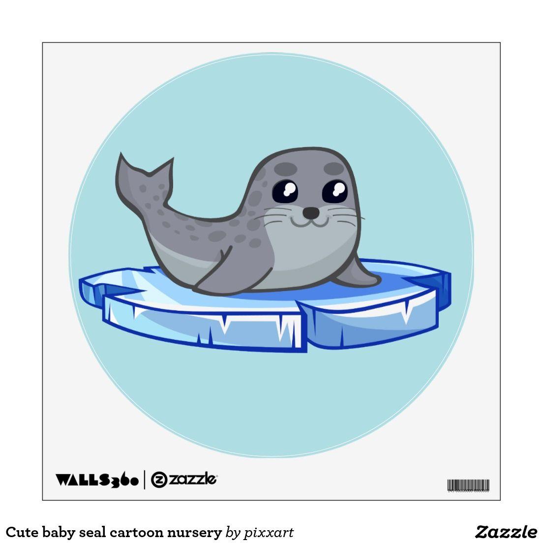 Cute Baby Seal Cartoon Nursery Wall Sticker Zazzle Com Seal