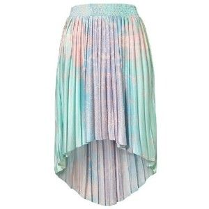 Green Asymmetrical Pleated High Low Skirt. texture adds to visual