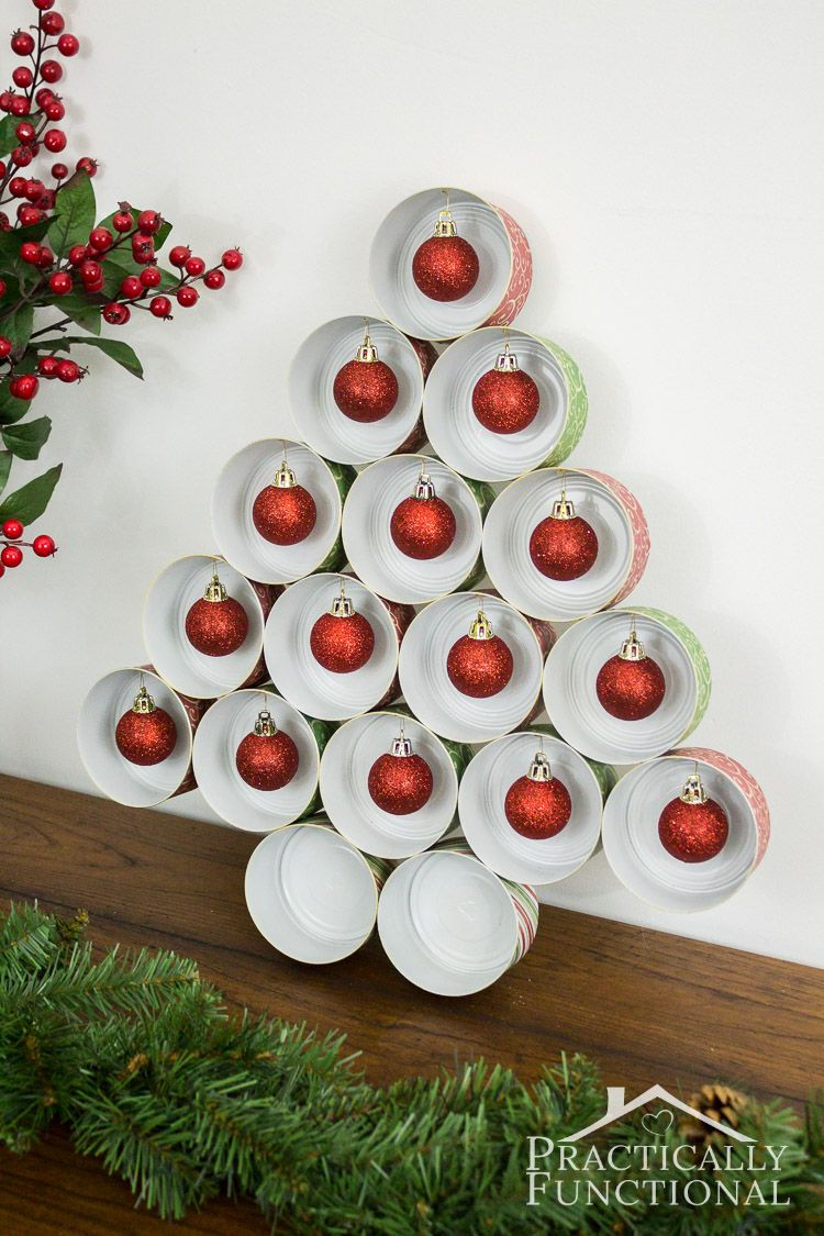 Food Christmas Decorations Part - 29: Recycle Empty Tin Cans Into A Cute Christmas Tree! Great Way To Recycle  Tuna Cans
