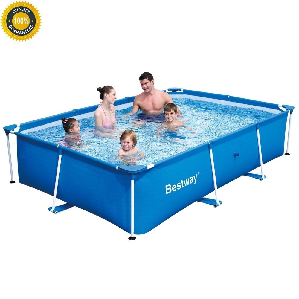 rectangle above ground swimming pool. Rectangular Above Ground Swimming Pool Steel Frame Outdoor Kids Family Fun Play Rectangle P
