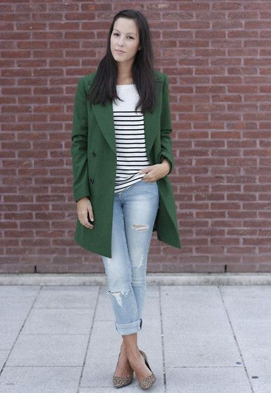 Opt for a dark green coat and baby blue ripped skinny jeans for an effortless kind of elegance. For the maximum chicness throw in a pair of khaki animal suede pumps.   Shop this look on Lookastic: https://lookastic.com/women/looks/dark-green-coat-white-and-black-long-sleeve-t-shirt-light-blue-skinny-jeans/14840   — White and Black Horizontal Striped Long Sleeve T-shirt  — Dark Green Coat  — Light Blue Ripped Skinny Jeans  — Tan Leopard Suede Pumps