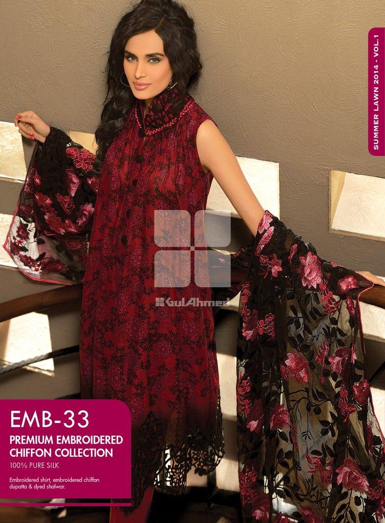 EMB-33! Embroidered shirt, embroidered chiffon dupatta ...