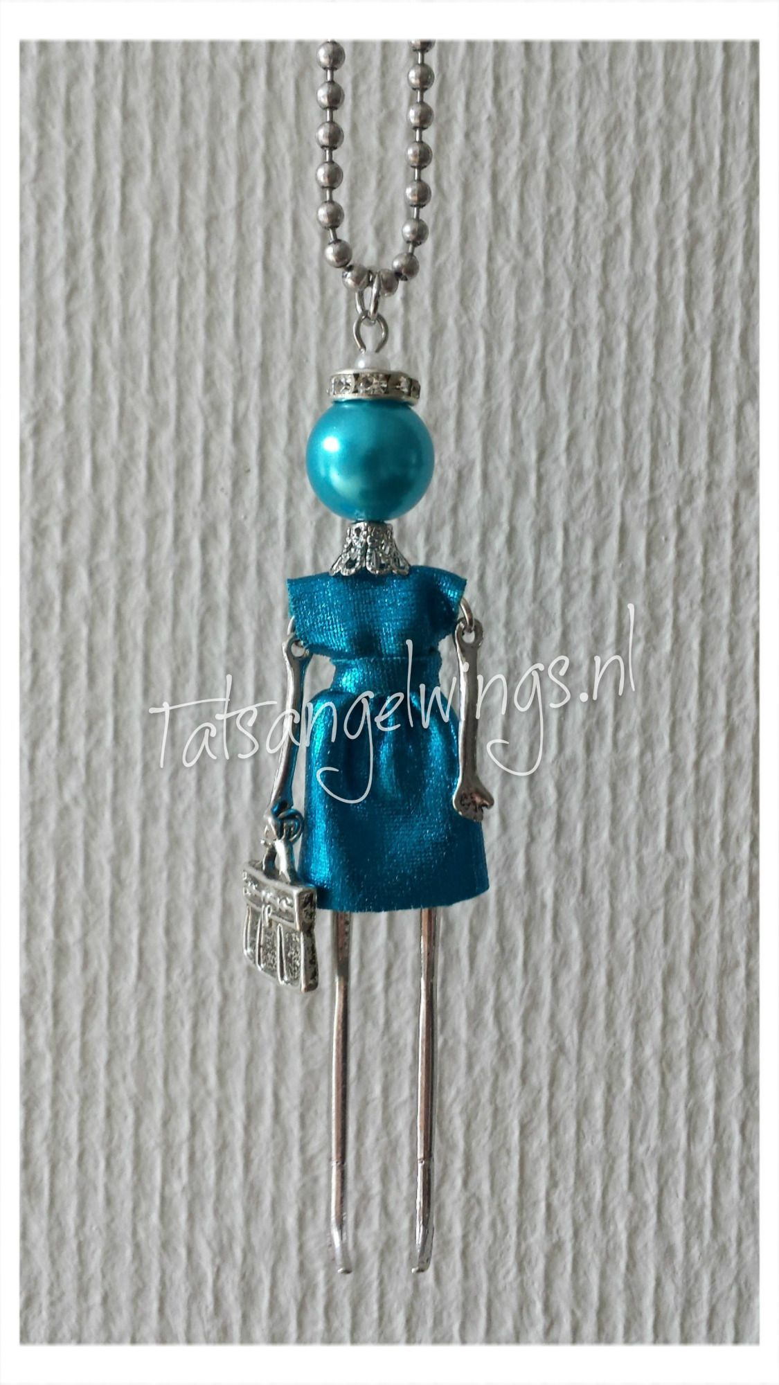 Necklace doll blue
