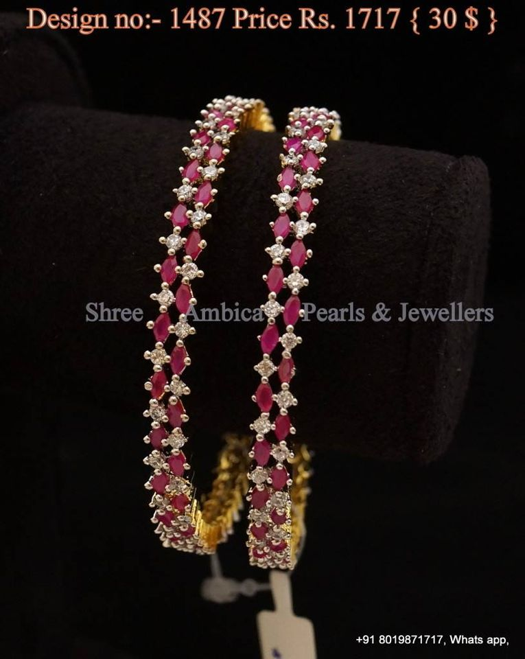584a9fcd09a Cz and ruby bangles | Jewels in 2019 | Ruby bangles, Bangle ...