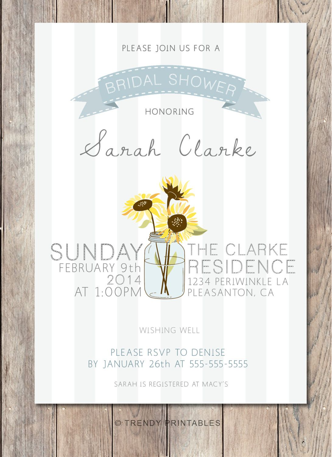 Bridal Shower Invitation, Mason Jar Bridal Shower Invitation, Rustic ...