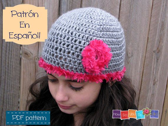 Gorro Juvenil Flor , Spanish Pattern For Hat , Patrón en Español ...