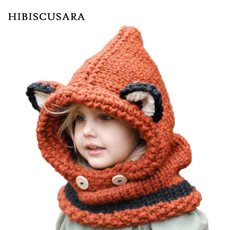 New Winter Knitted Dinosaur Hat Cap Hood Scarf For Toddler Boy Girl Baby Kids