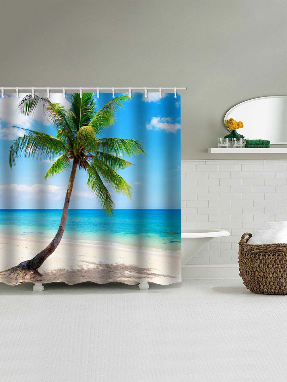 Beach Palm Tree Print Waterproof Shower Curtain Ad Ad Tree