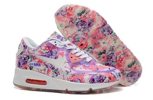 well known outlet online catch Women's Nike Air Max 90 Height Running Shoes Flower Pink ...