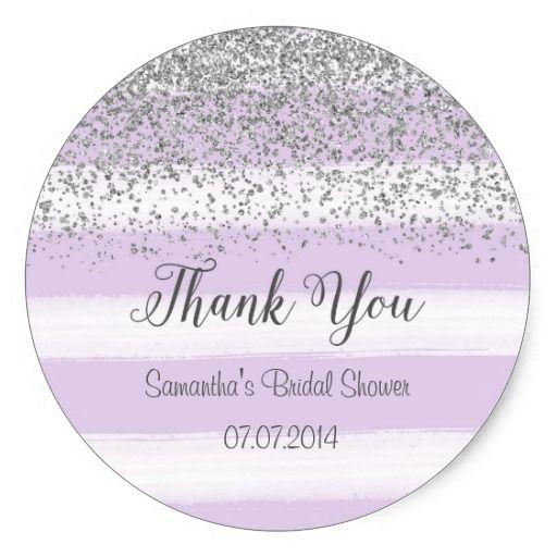 purple stripes bridal shower sticker