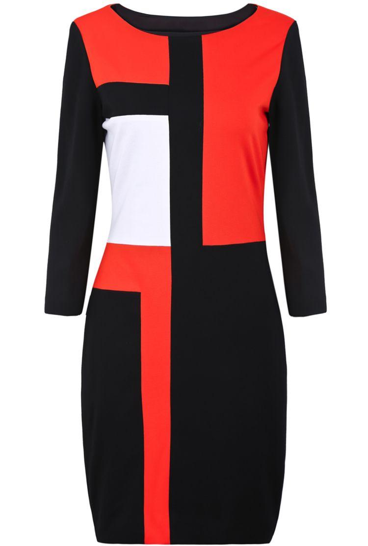 Red contrast black long sleeve bodycon dress vestidos pinterest