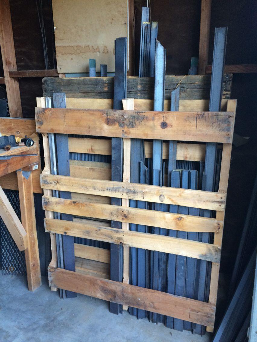 Pallets holding metal. Garage organization | Pallet barn ...