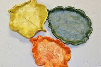Here is a great fall clay project we did in my co-op art classes. (4/5/6th grades.) I saw a set of leaf-shaped plates in Better Homes and Ga...