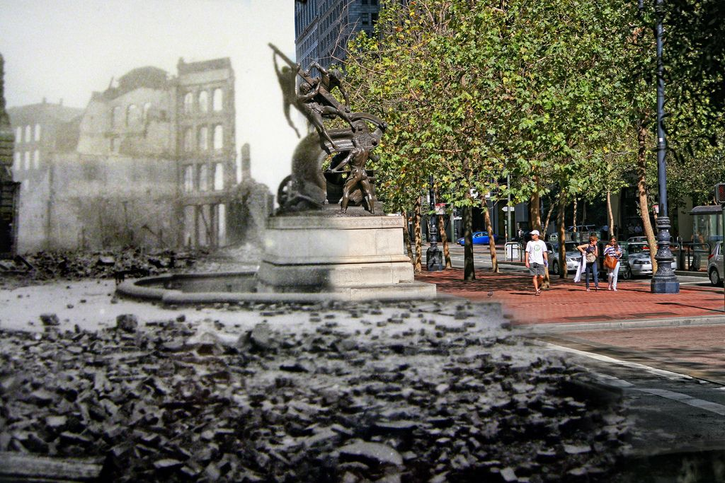 1906 San Francisco earthquake photos merged with modern day by Shaun Clover
