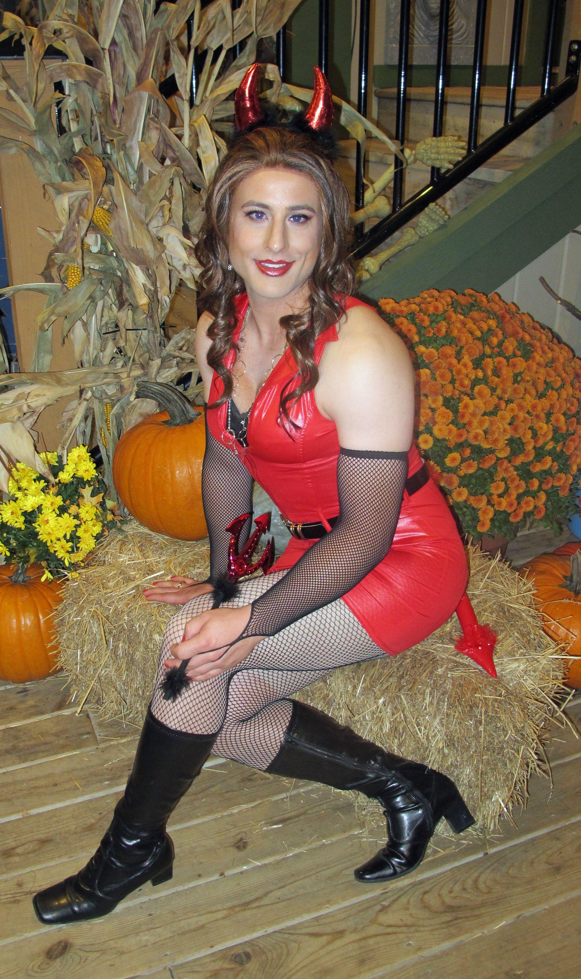 Crossdresser Diana Vandenburg Dressed As A Devil For