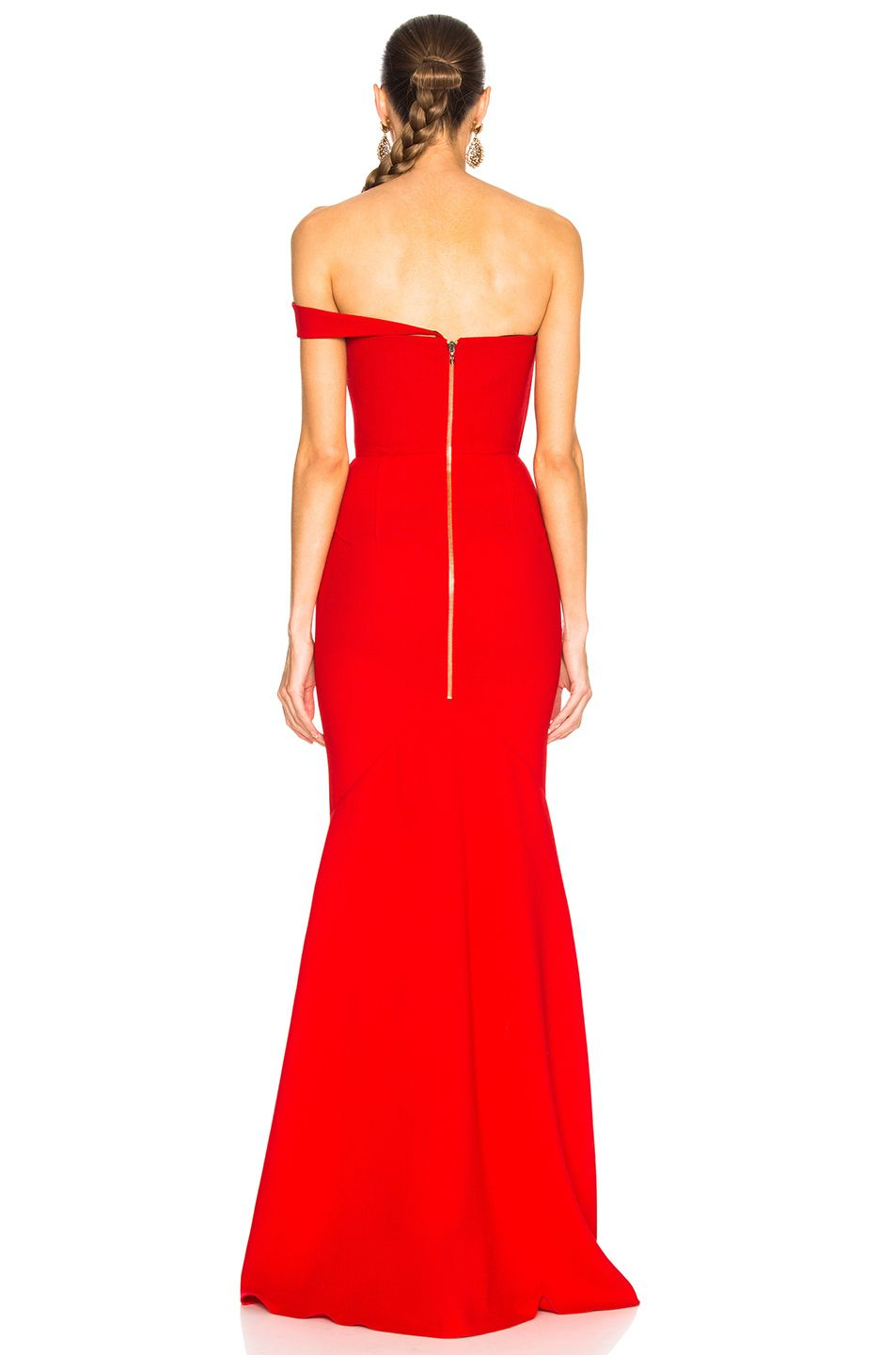 Roland mouret lockton double wool crepe gown in poppy red fwrd