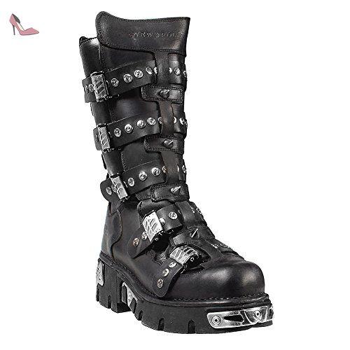 134 BottesNoirArgent45 Style Chaussures New Rock iuOTPkXZ