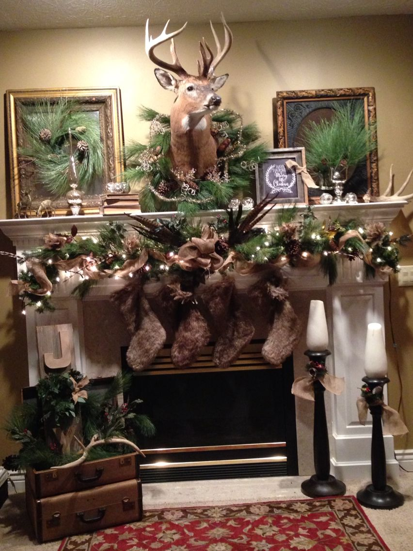 Christmas Mantle Year Ii Garland With Burlap Feathers