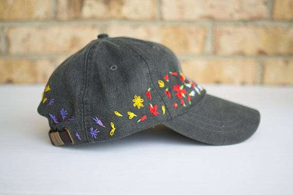 82a68a83c Faded Black Embroidered Baseball Cap, floral embroidered hat ...