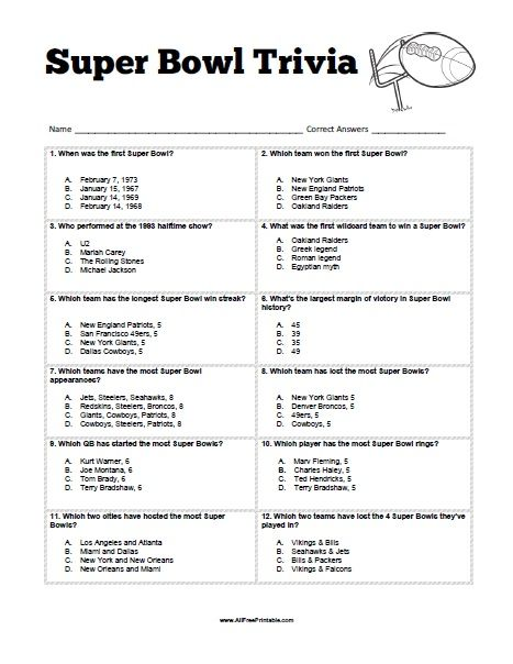 Free Printable Super Bowl Trivia Game Super Bowl Trivia Trivia Super Bowl
