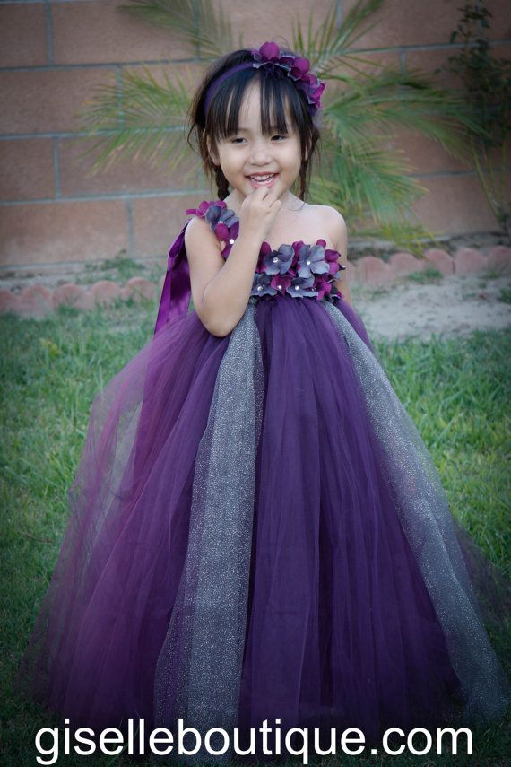 Flower girl dress. Eggplant with Gray tutu por giselleboutique ...