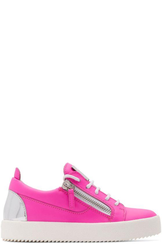 Giuseppe Zanotti Pink & Silver Neon May London Sneakers r0B7Z