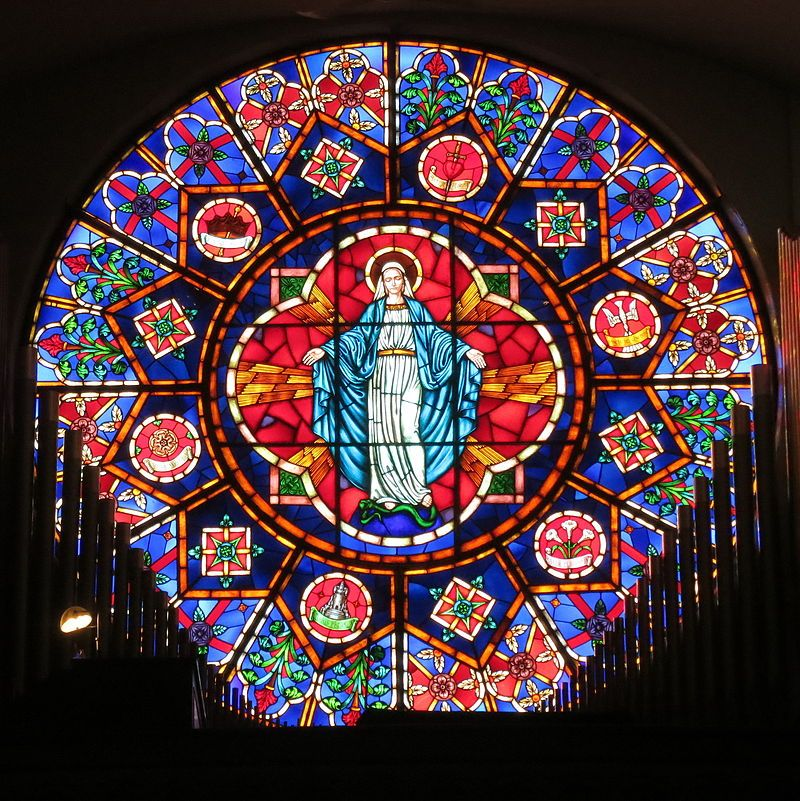 Saint Nicholas Catholic Church Zanesville Ohio Stained Glass Rose Window Stained Glass Windows Church Stained Glass Stained Glass Church