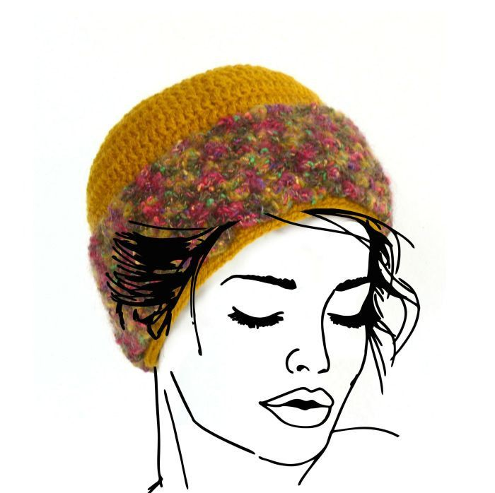 Hat with wide fluffy #colorful band, Yellow warm #winter hat, #Skiing hat, Wool h,  View more on the LINK: 	http://www.zeppy.io/product/gb/3/253582501/