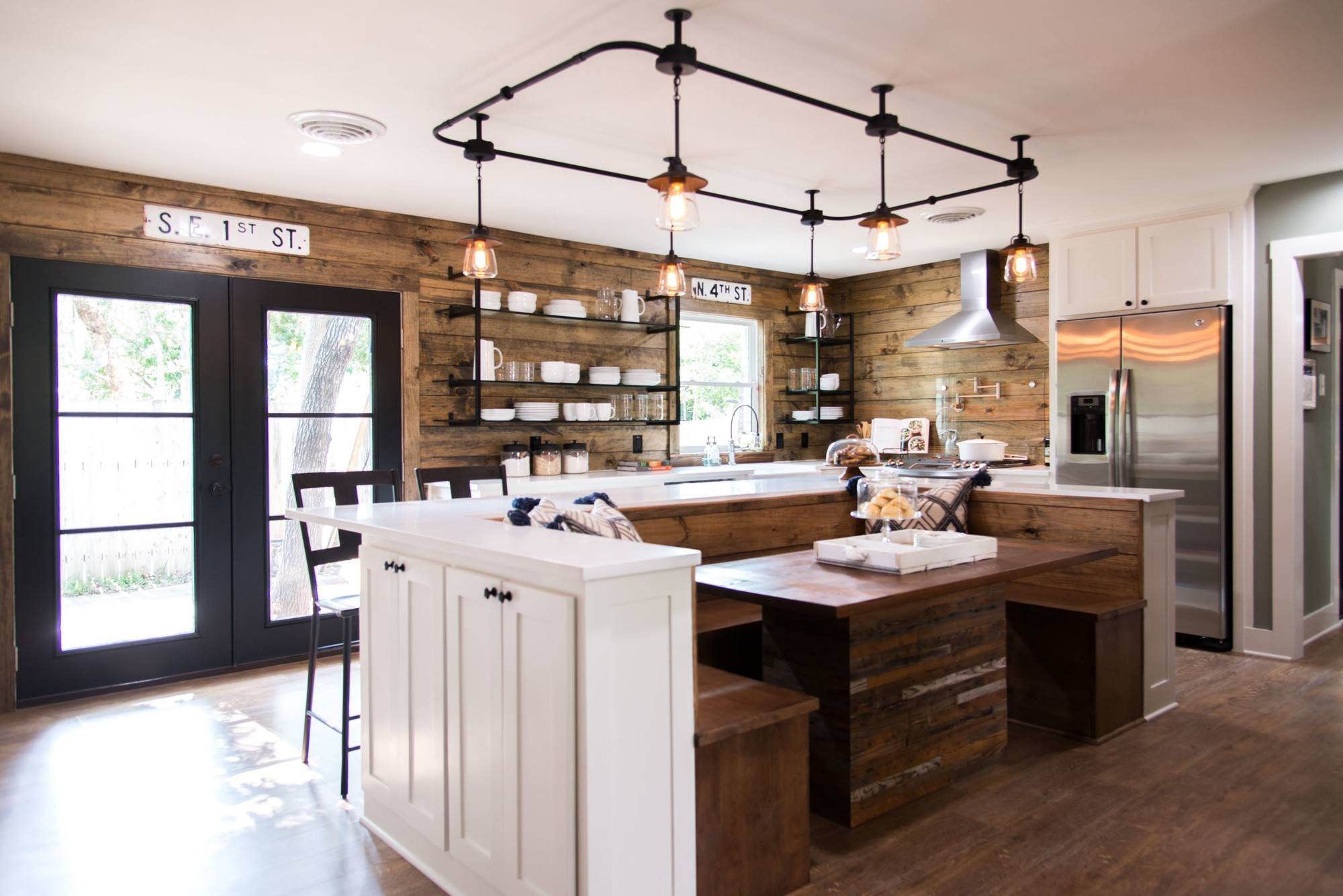 Modern Farmhouse Track Lighting Room Breakfast Nook Is Built Into The Center Island Beneath