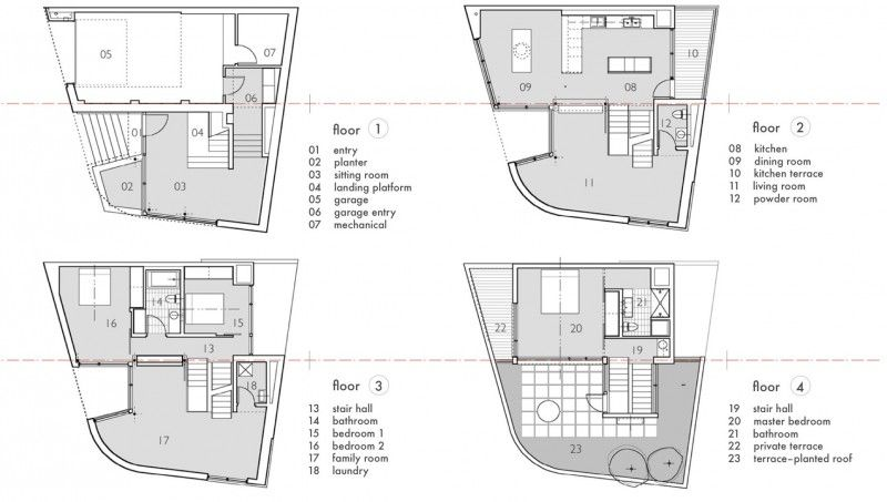 Attractive Home Design Vocabulary Part - 3: Floor Plans, Terrace, Split Level House In Philadelphia By Qb Design