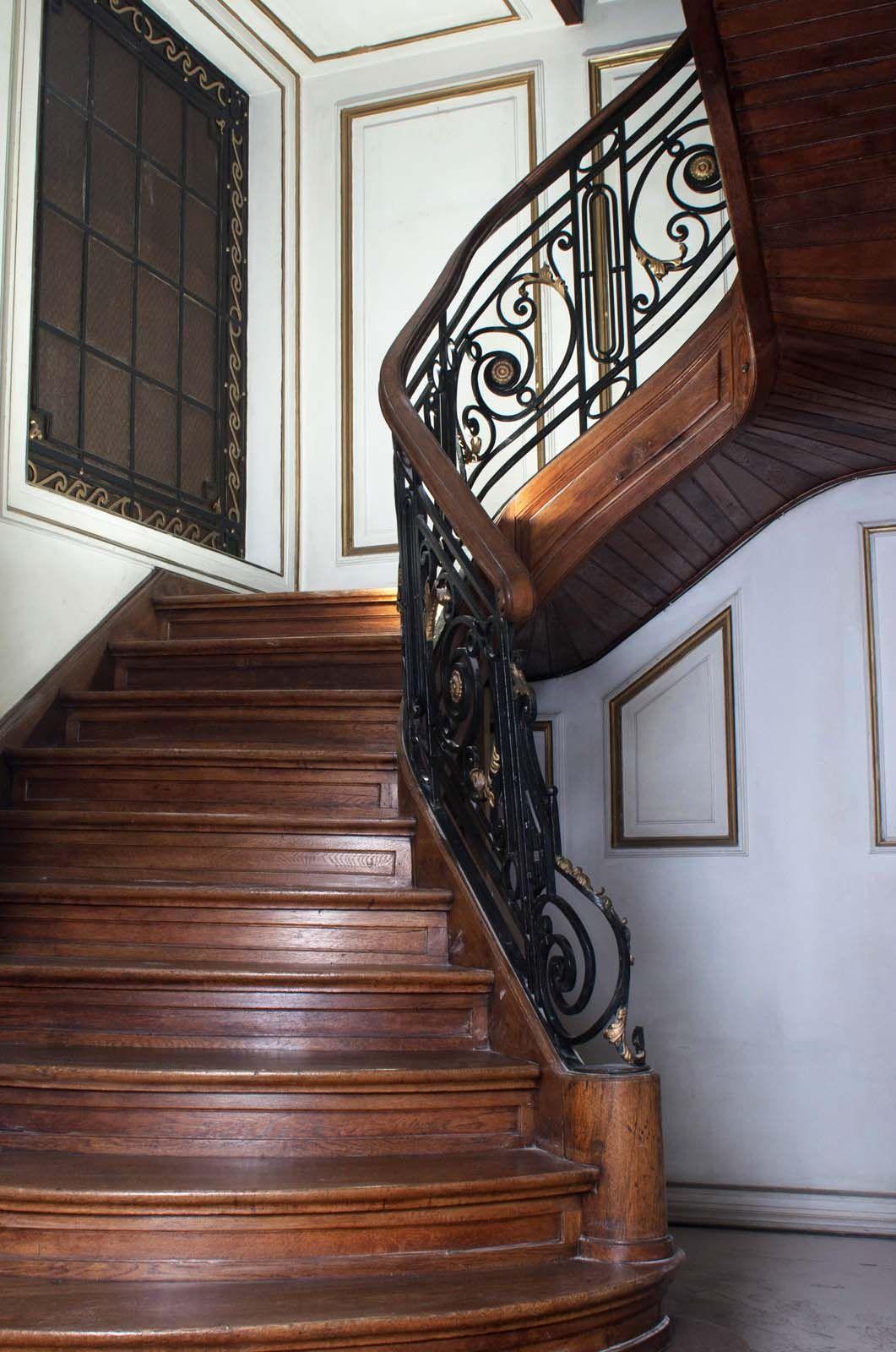 Baranda de escalera estilo franc s en hierro forjado - Escaleras de hierro forjado ...
