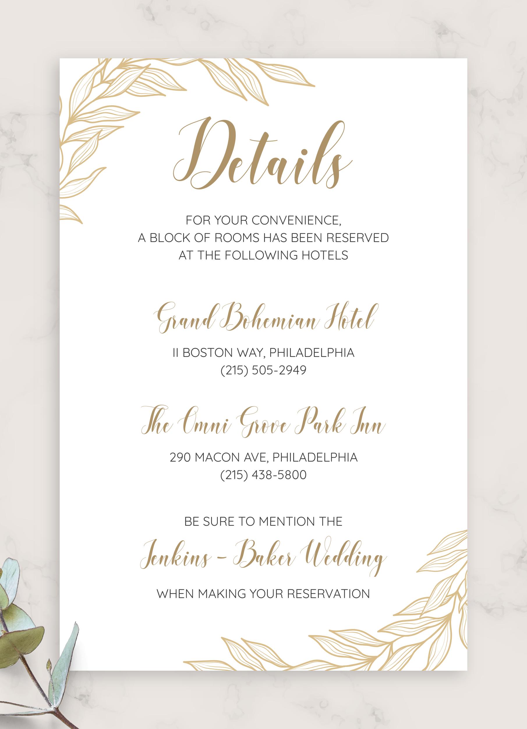 Golden Wedding Details Card Wedding Details Card Wedding Invitation Card Design Wedding Invitation Cards