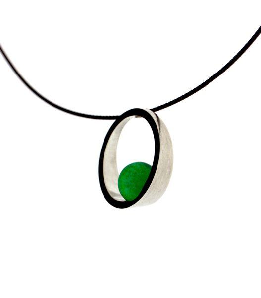 necklace 'oblique green', silver, agate