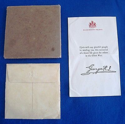 Original Cardboard Box   Case For A Ww1 Memorial Plaque - condolence letter