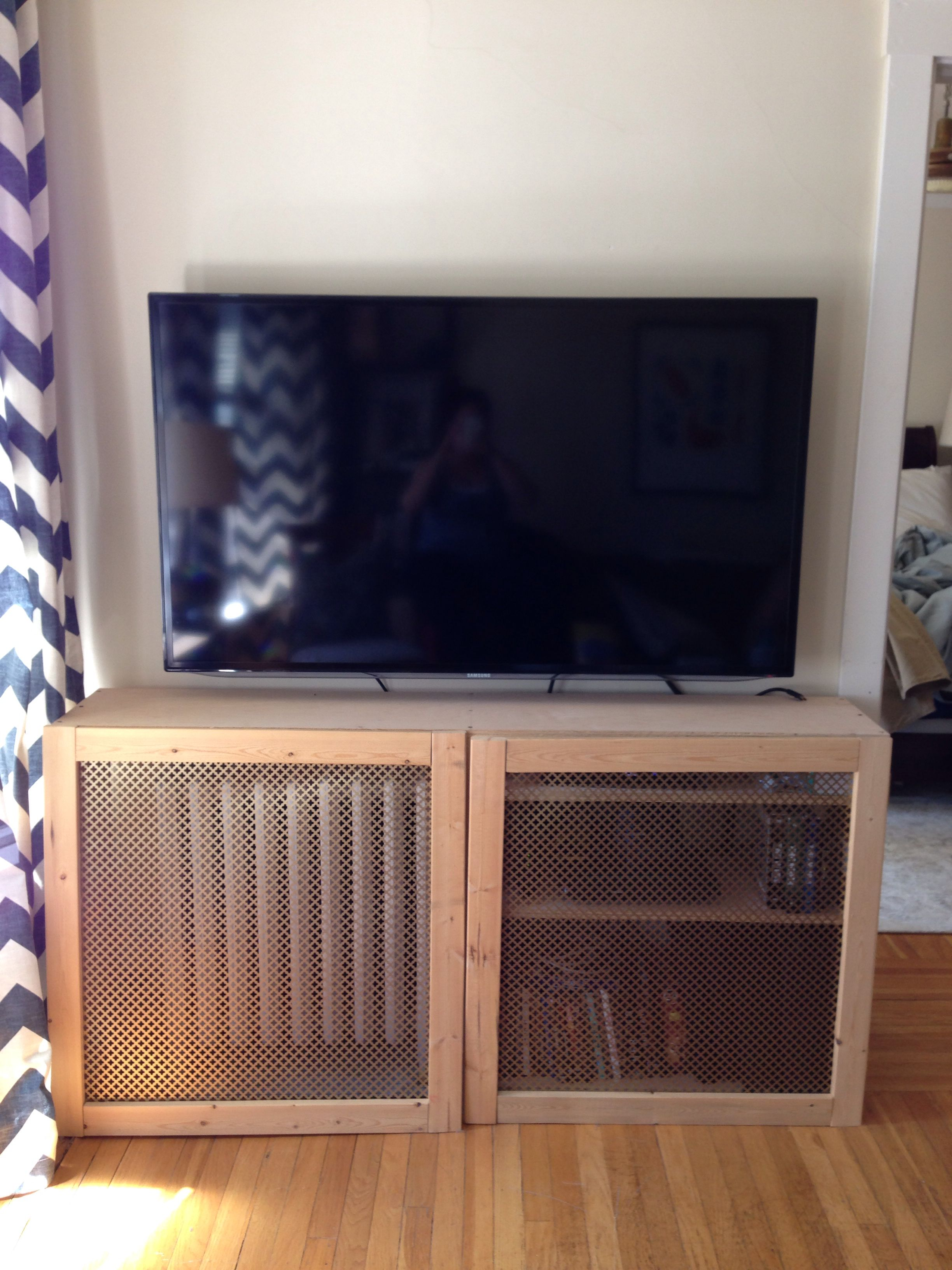 Radiator Cover Shelf Over Flat Screen Tv