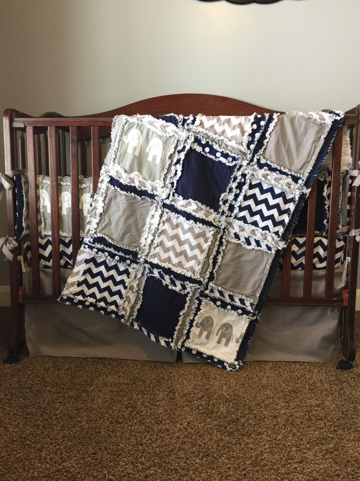 Custom crib bedding for Baby Boy Nursery in gray & navy blue with ... : solid color quilted pillow shams - Adamdwight.com
