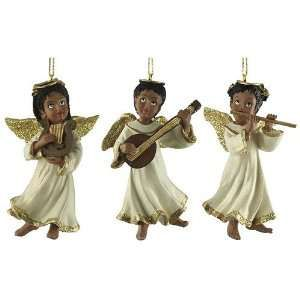 Set of 3 African American Angel Christmas Ornaments Home