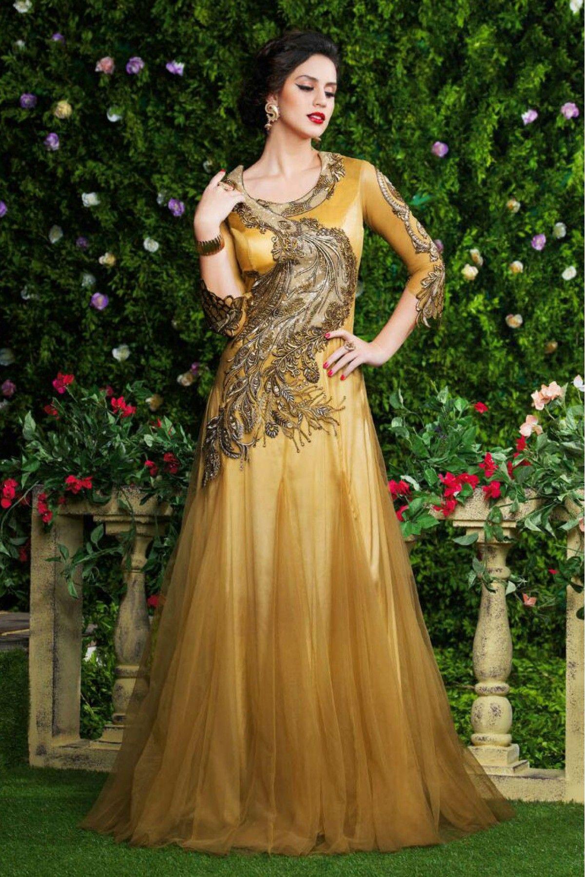 Divine Cream and Brown Designer High Neck Party Wear Gown ...