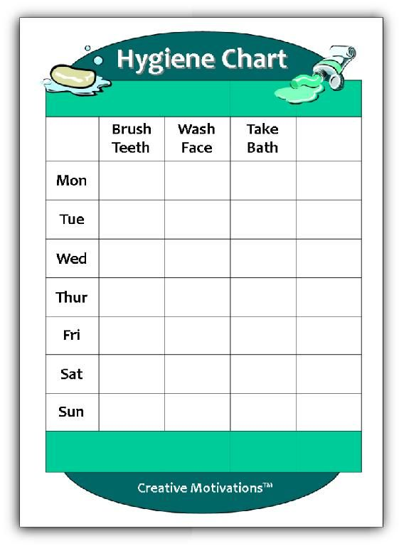 Calendar Organization Questionnaire : Hygiene chart for kids worksheets pinterest personal