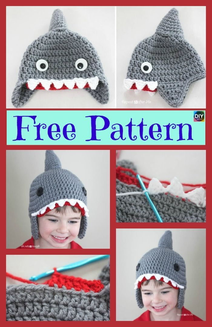 Cute Crochet Shark Hat Free Pattern #freecrochetpatterns #crochethat ...