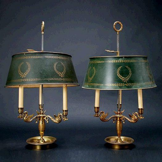 Metal Candle Stick Table Lamp Antique
