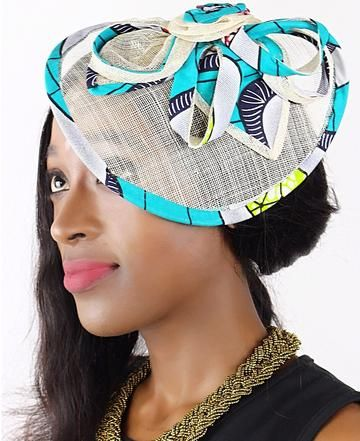 African Print Fascinator hair clip hat - Aqua / White
