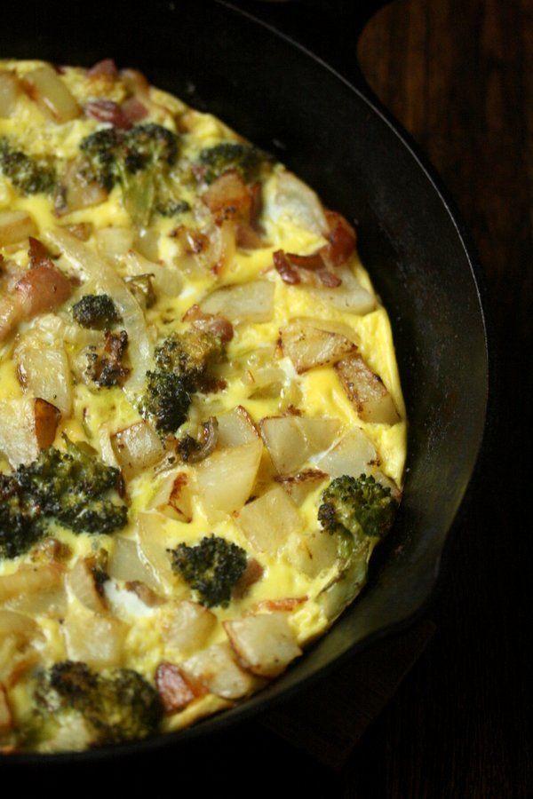 Frittata with Potatoes, Bacon, and Broccoli #baconfrittata