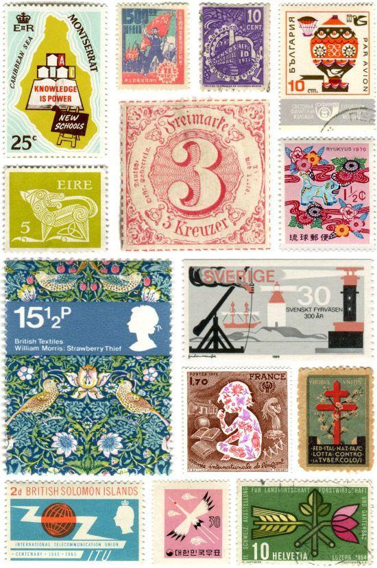 vintage stamps decoración organizadores jardín etc